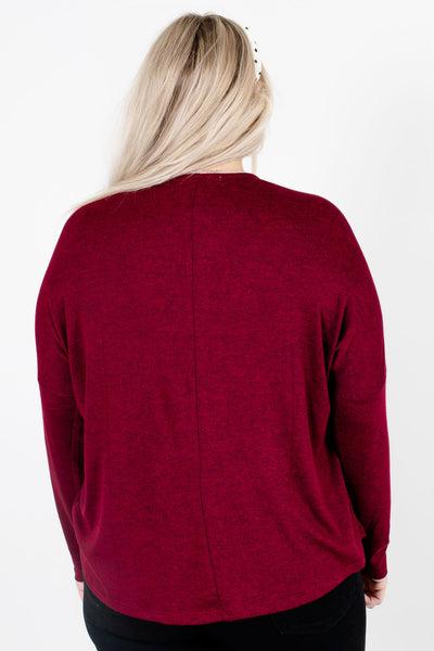Women's Burgundy Long Sleeve Boutique Tops