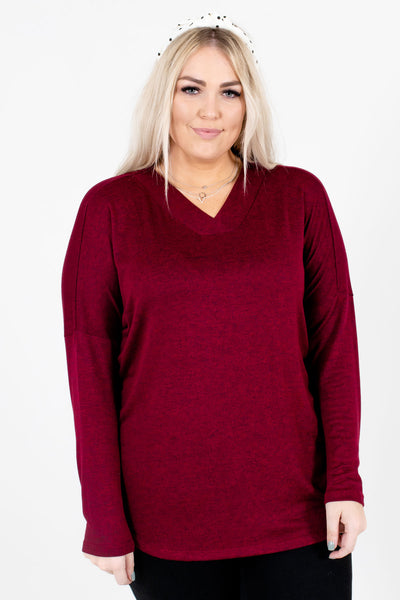 Burgundy V-Neckline Boutique Tops for Women