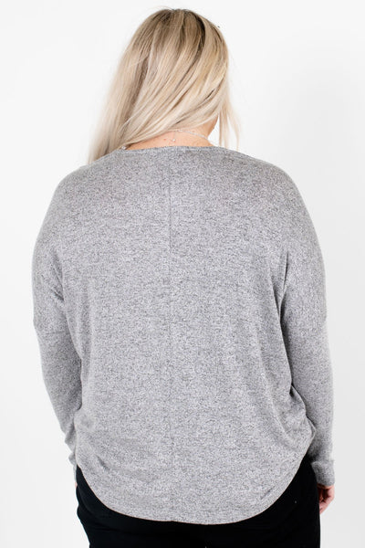Women's Heather Gray Long Sleeve Boutique Tops