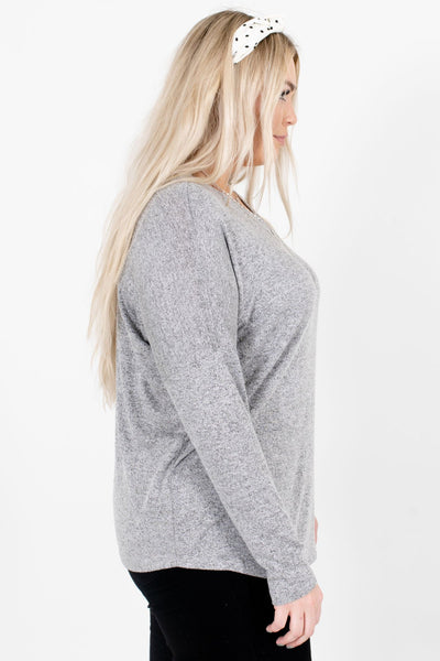 Heather Gray Cozy and Warm Boutique Tops for Women