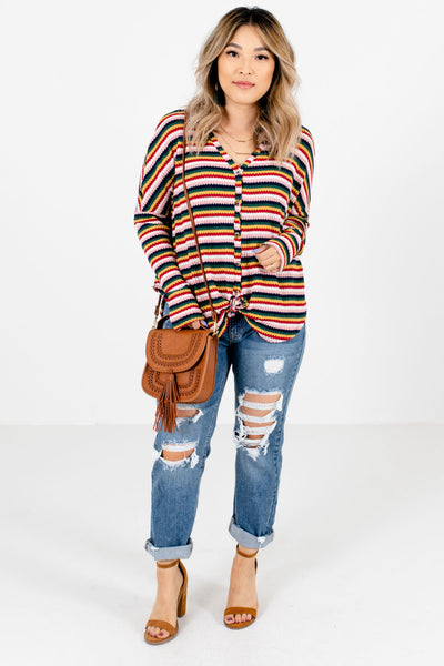 Multicolored Stripe Button-Up Boutique Tops for Women