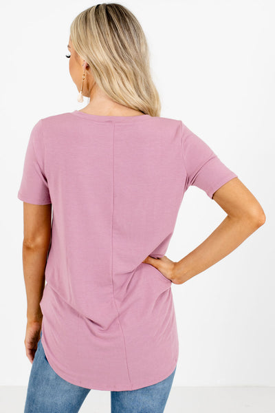 Women's Pink Short Sleeve Boutique Tops