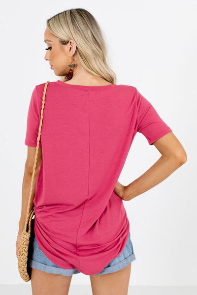 Women's Pink Short Sleeve Boutique Blouse
