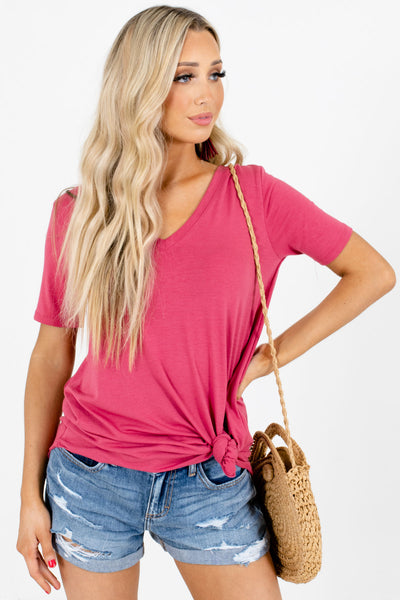 Pink V-Neckline Boutique Tops for Women