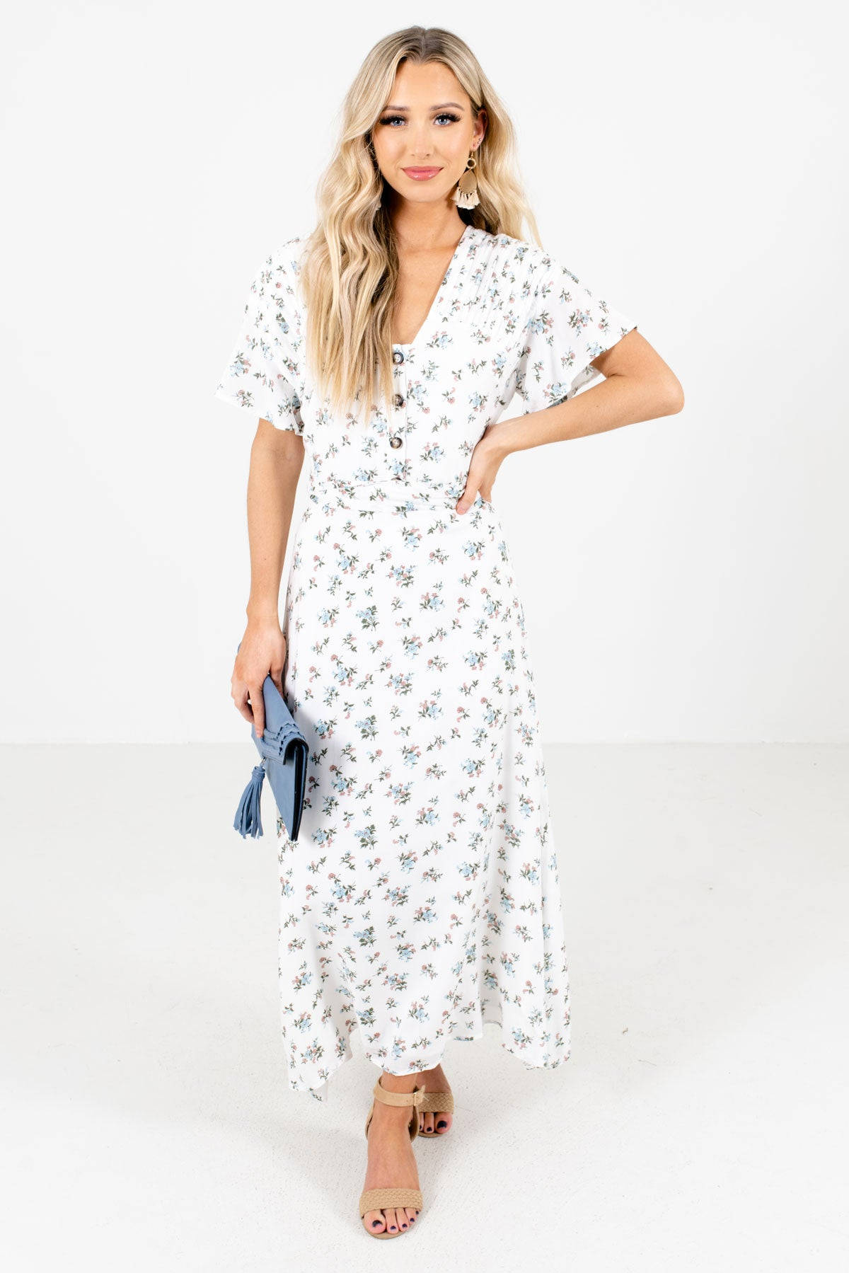 White Multicolored Floral Patterned Boutique Maxi Dresses for Women