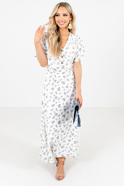 Women's White High-Quality Lightweight Material Boutique Maxi Dress