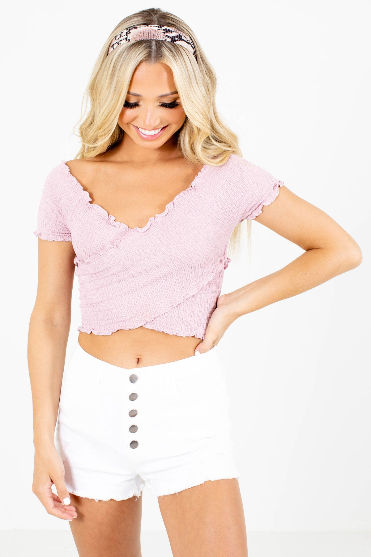 Mauve Smocked Material Boutique Crop Tops for Women