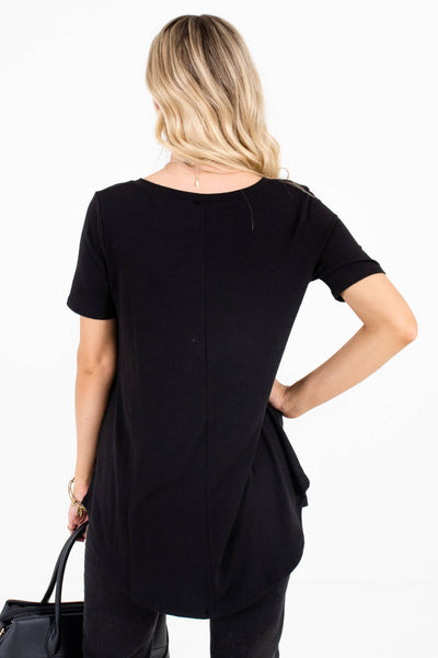 Women's Black High-Low Hem Boutique Tops