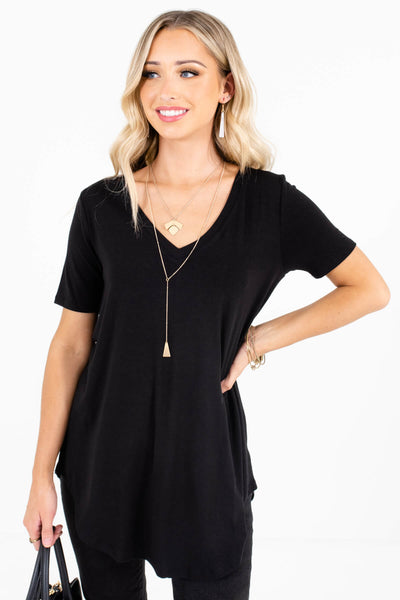 Black Lightweight Material Boutique Tops for Women
