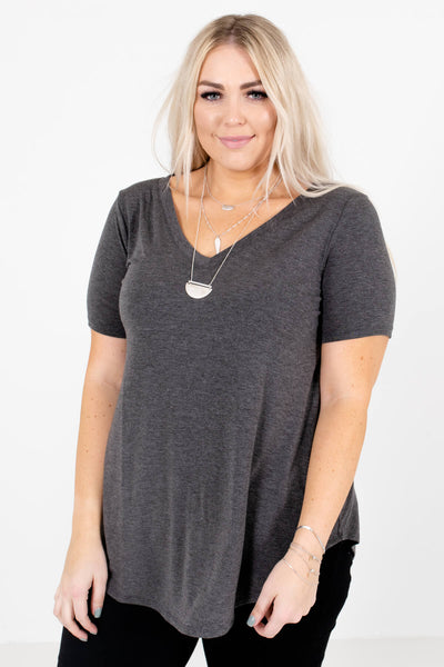 Charcoal Gray Lightweight Material Boutique Tops for Women