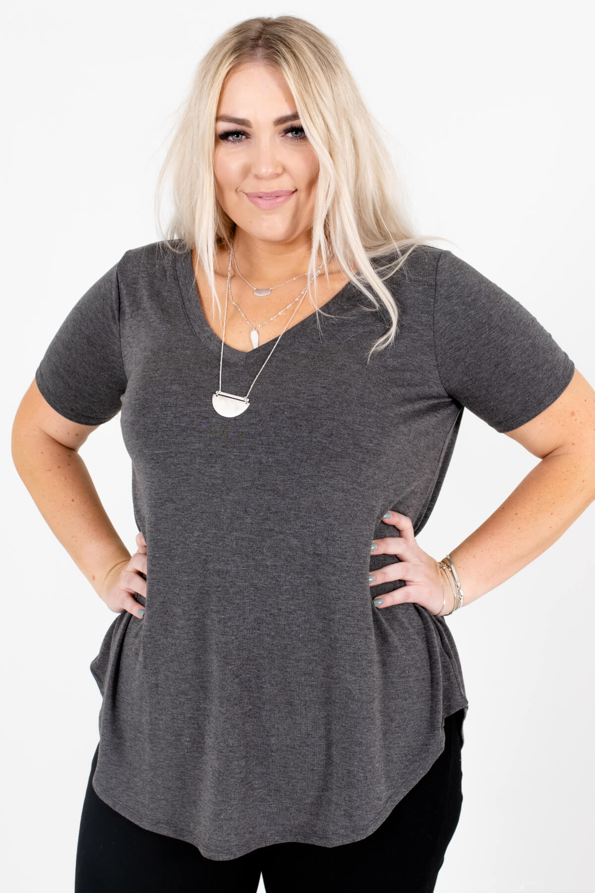 Charcoal Gray V-Neckline Boutique Tops for Women