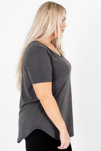 Charcoal Gray Layering Boutique Tops for Women