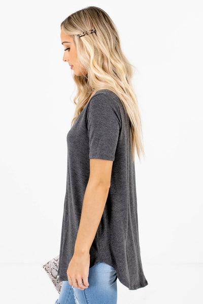 Women's Charcoal Gray Oversized Relaxed Fit Boutique Top