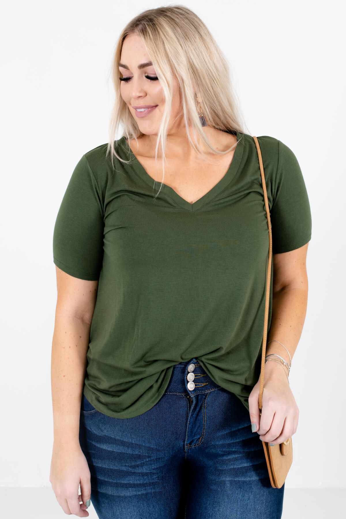 Green V-Neckline Boutique Tops for Women
