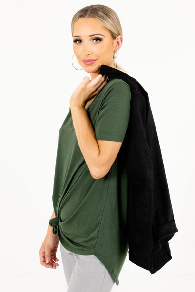 Green Layering Boutique Tops for Women