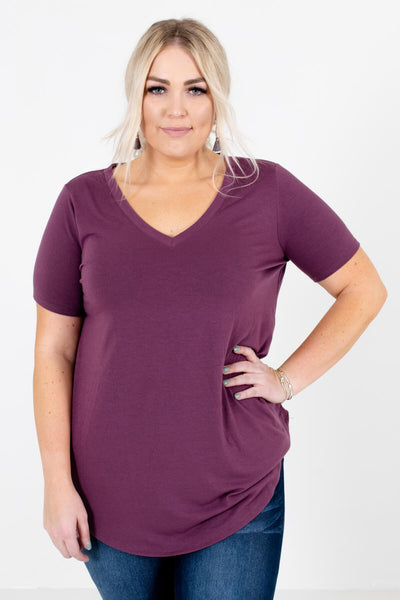 Purple Lightweight Material Boutique Tops for Women