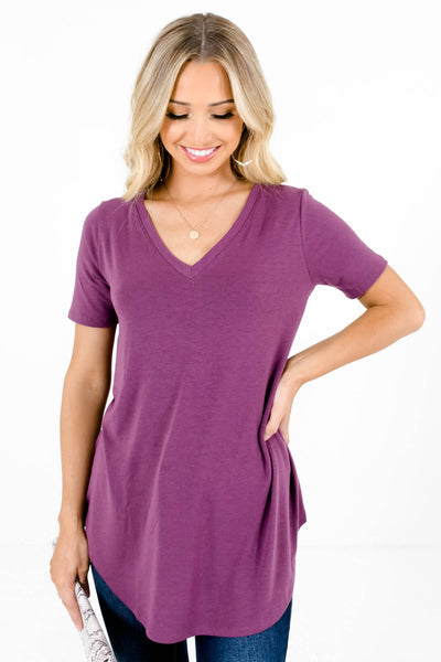Purple V-Neckline Boutique Tops for Women