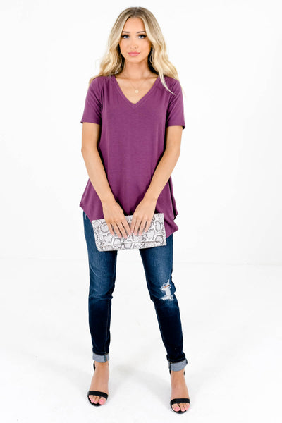 Women's Purple Oversized Relaxed Fit Boutique Top