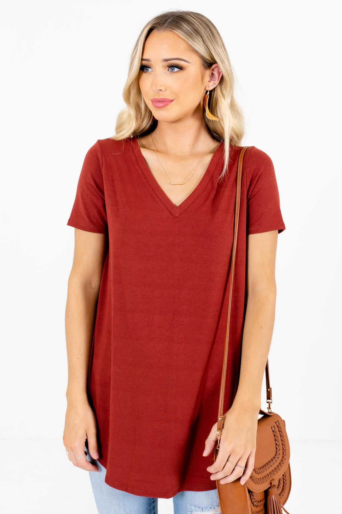 Rust Orange V-Neckline Boutique Tops for Women