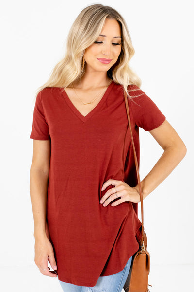 Women's Rust Orange Oversized Relaxed Fit Boutique Top