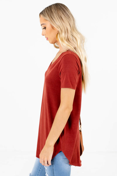 Rust Orange Lightweight Material Boutique Tops for Women