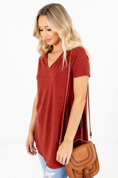 Rust Orange Layering Boutique Tops for Women