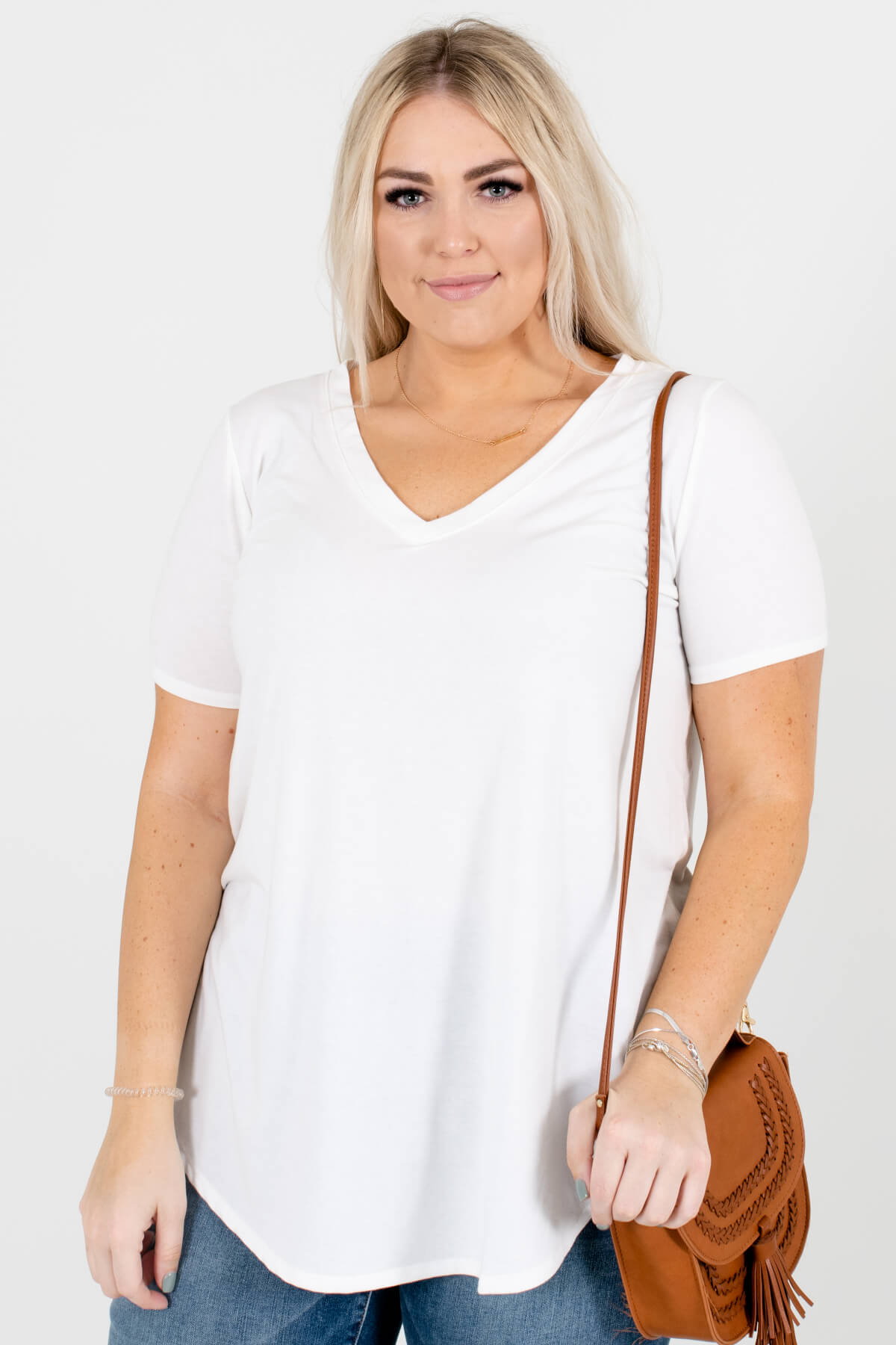White V-Neckline Boutique Tops for Women