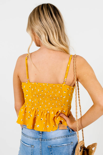 Women's Yellow Floral Smocked Back Style Boutique Tops