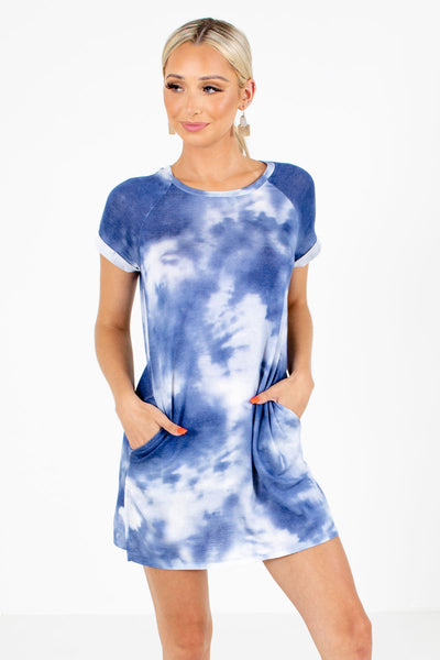 Blue Tie-Dye Print Boutique Mini Dresses for Women