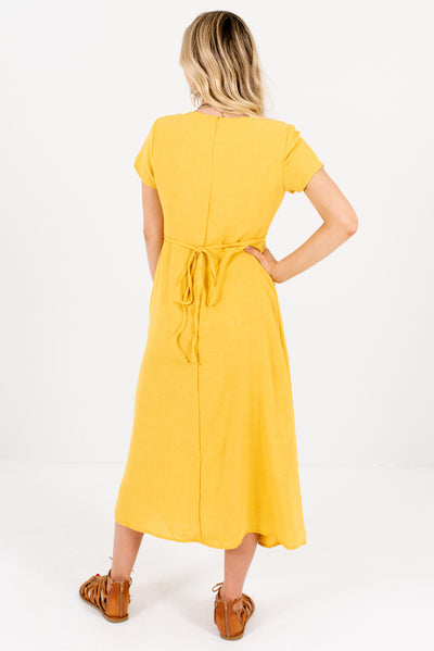 Women's Yellow Side Hem Slit Boutique Midi Dress