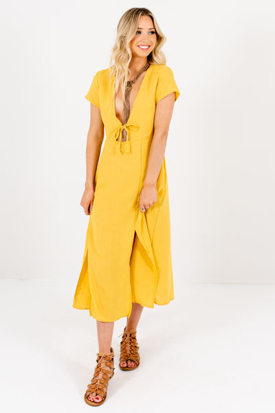 Women's Yellow Cute and Comfortable Boutique Midi Dress