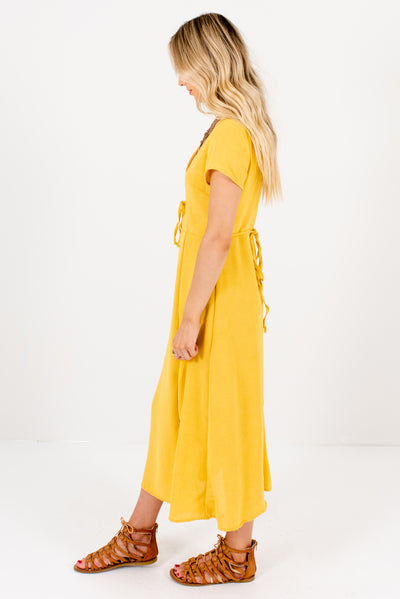 Yellow Midi Length High-Quality Boutique Midi Dresses for Women