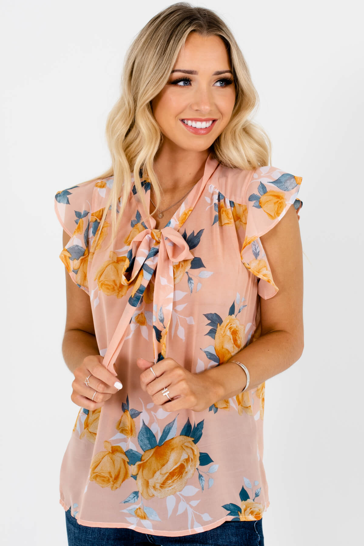 Peachy Pink Floral Pussybow Tie Ruffle Sleeve Blouses for Women