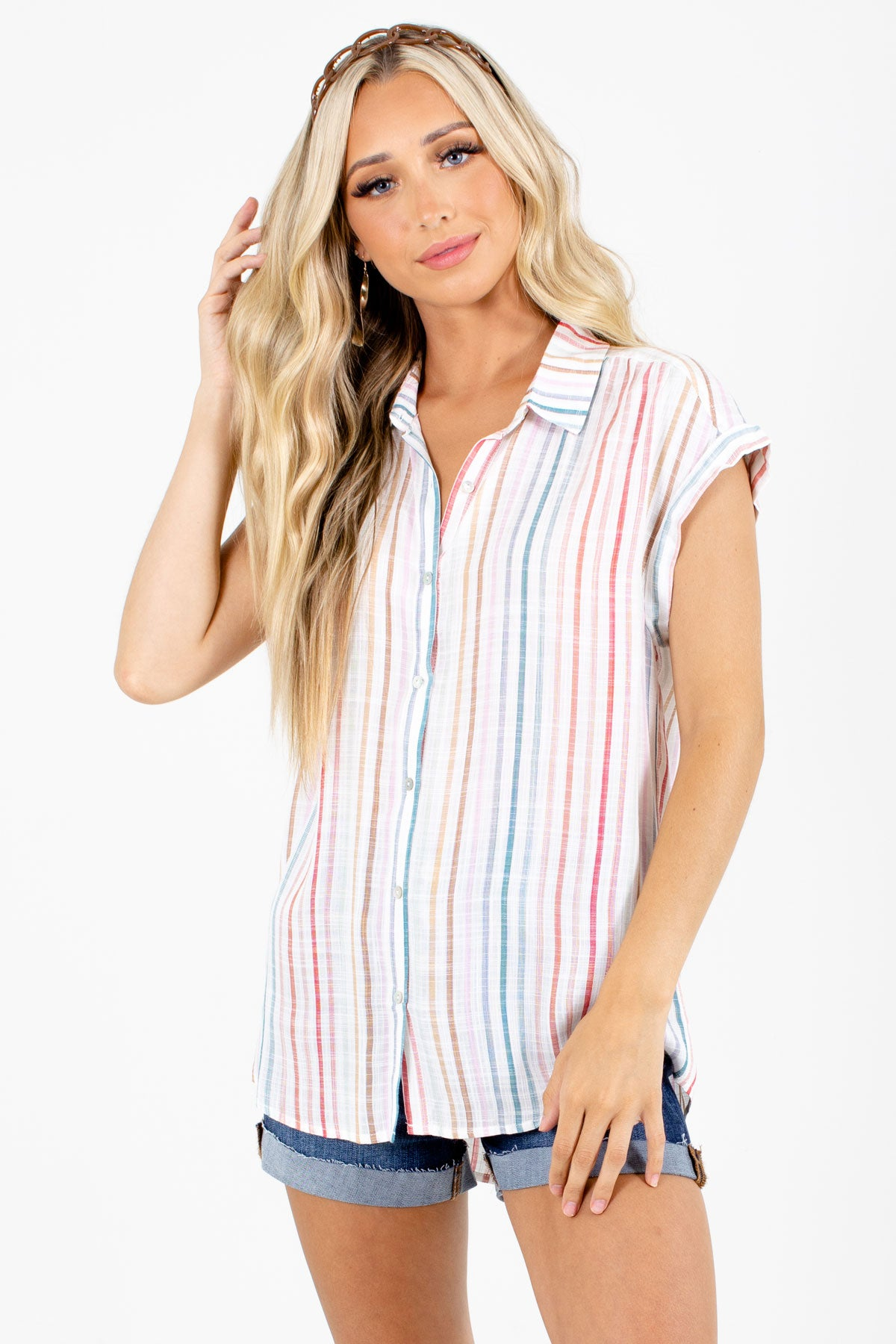White Multi Striped Boutique Shirts for Women