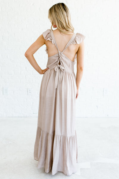 Taupe Brown Women's Criss Cross Open Back Boutique Maxi Dress