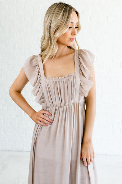 Taupe Brown Cute and Flattering Boutique Maxi Dresses for Women