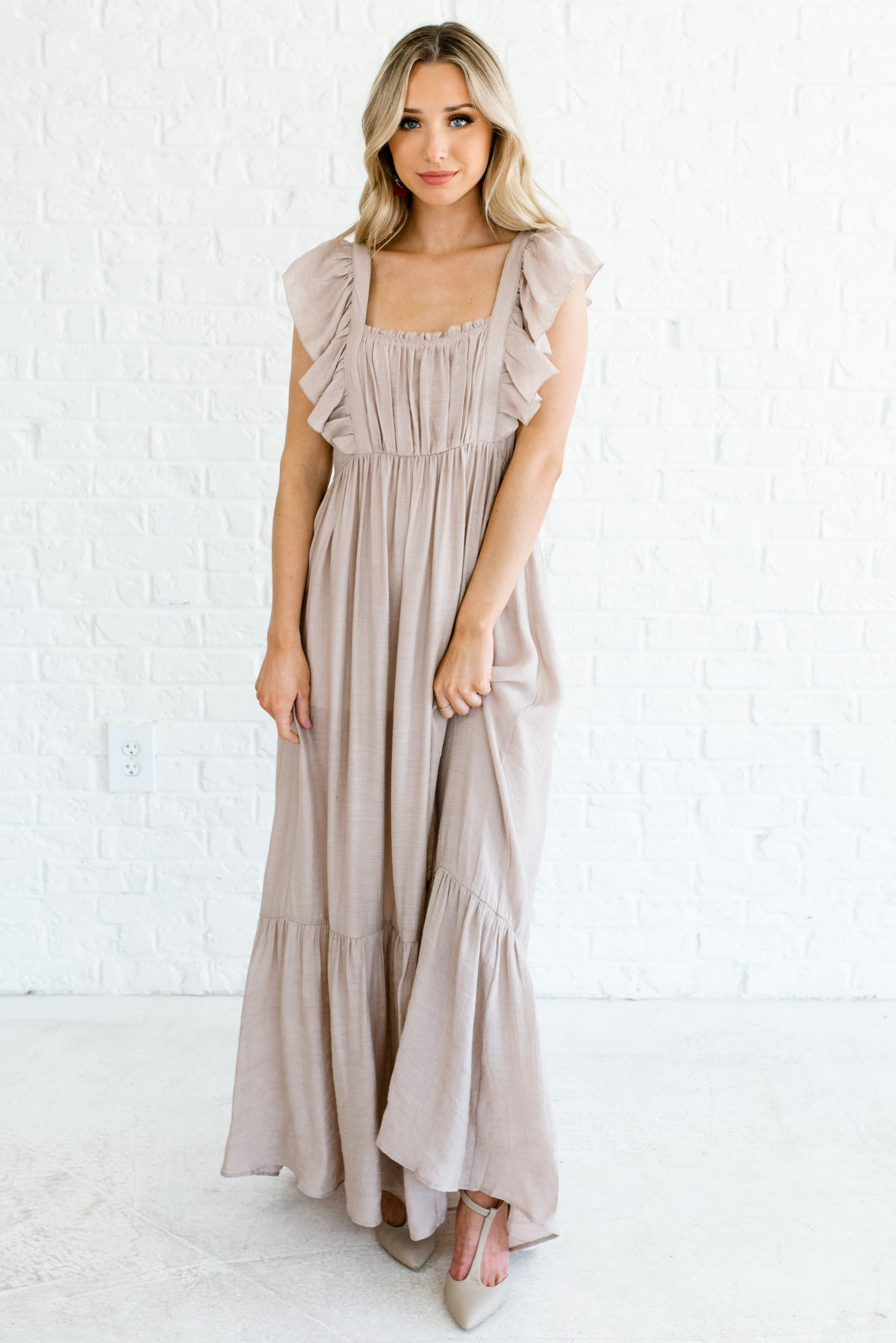 Taupe Brown Maxi Length Ruffle Accent Boutique Dresses for Women