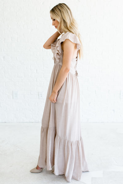Taupe Brown Lightweight High-Quality Boutique Maxi Dresses for Women