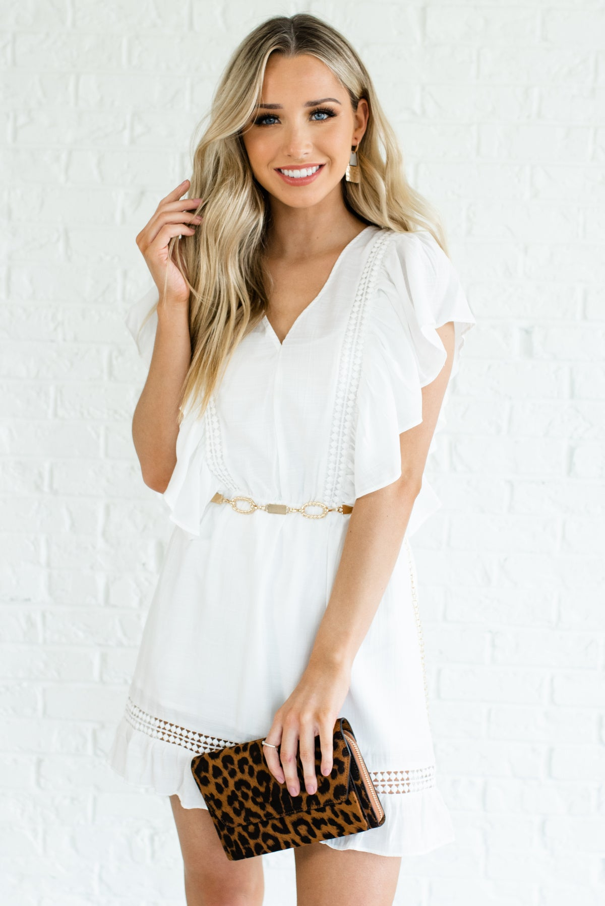 White Ruffle Butterfly Sleeve Crochet Detail Mini Dresses Affordable Online Boutique