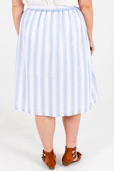 Women's Blue and White Back Elastic Waistband Plus Size Boutique Midi Skirt