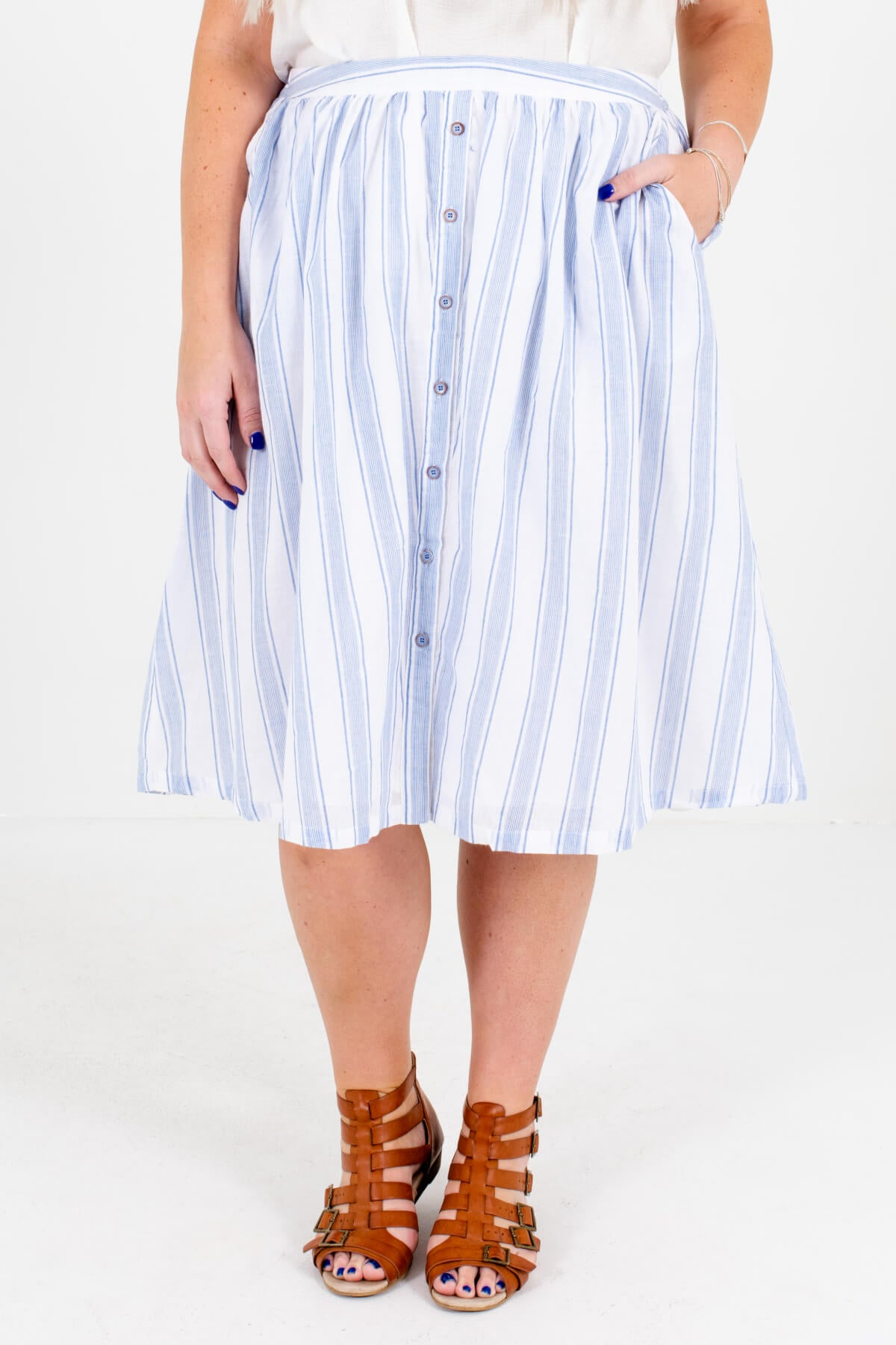 White and Blue Stripe Patterned Boutique Plus Size Midi Skirts for Women