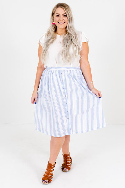 Women's White and Blue Plus Size Boutique Skirts with Pockets
