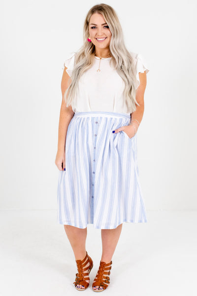 White and Blue Striped Cute and Comfortable Plus Size Boutique Midi Skirts for Women