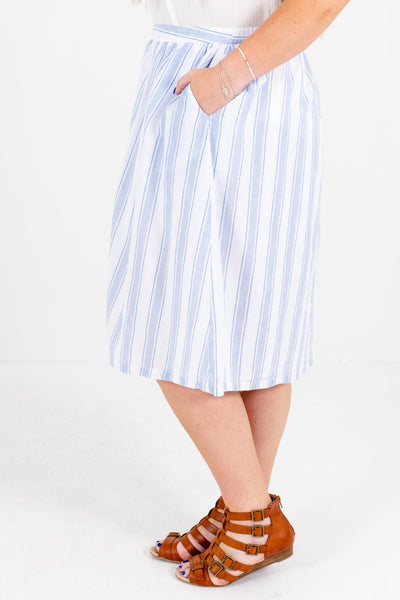 White and Blue Button-Up Front Plus Size Boutique Midi Skirts for Women