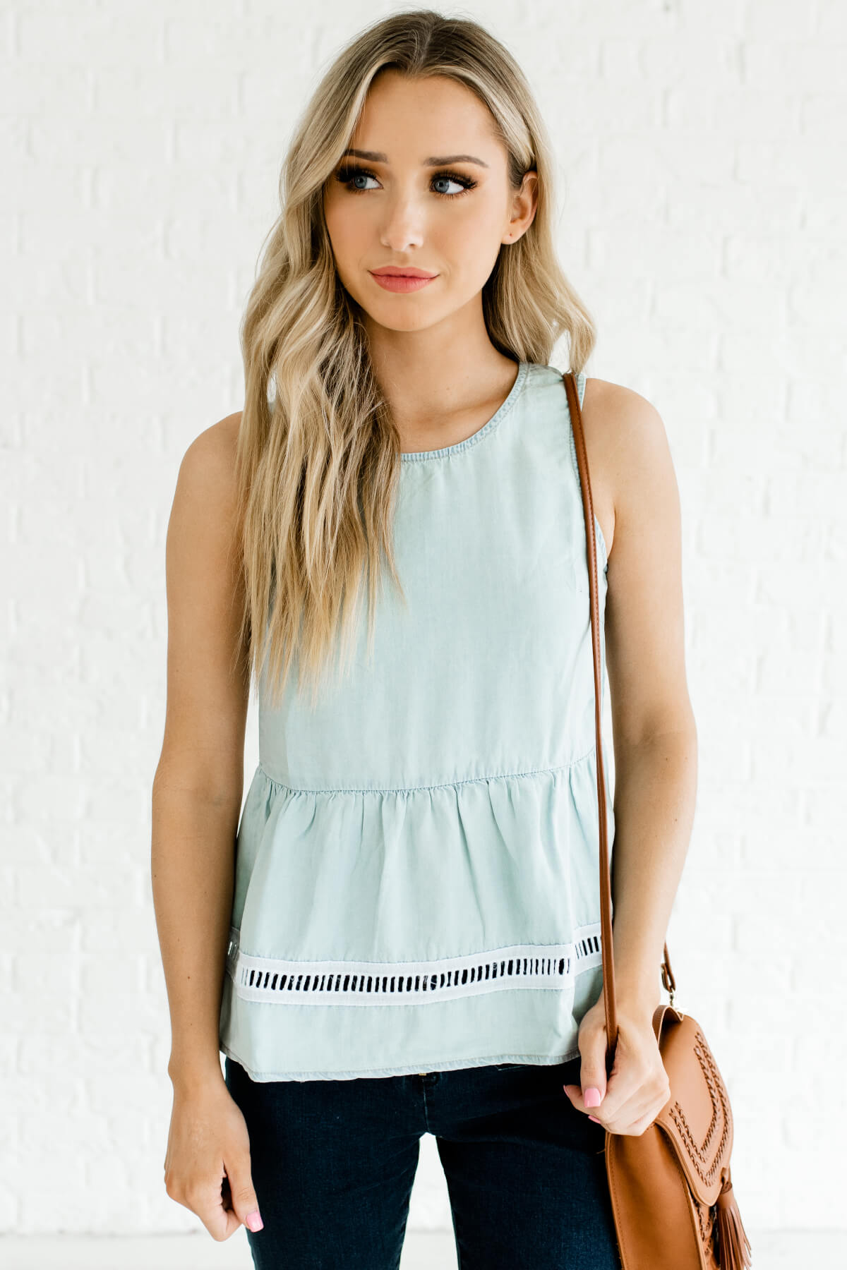 Light Blue Button-Up Back Boutique Tank Tops for Women