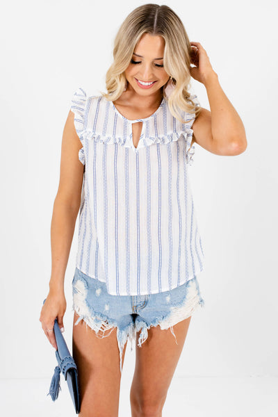 White Blue Striped Ruffle Cotton Tops for Women