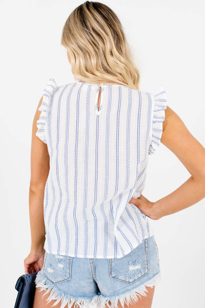 White Blue Stripe Motif Ruffle Tank Tops for 4th of July Outfits