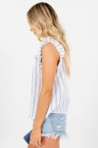 White Blue Striped Ruffle Cutout Neckline Tops for Women