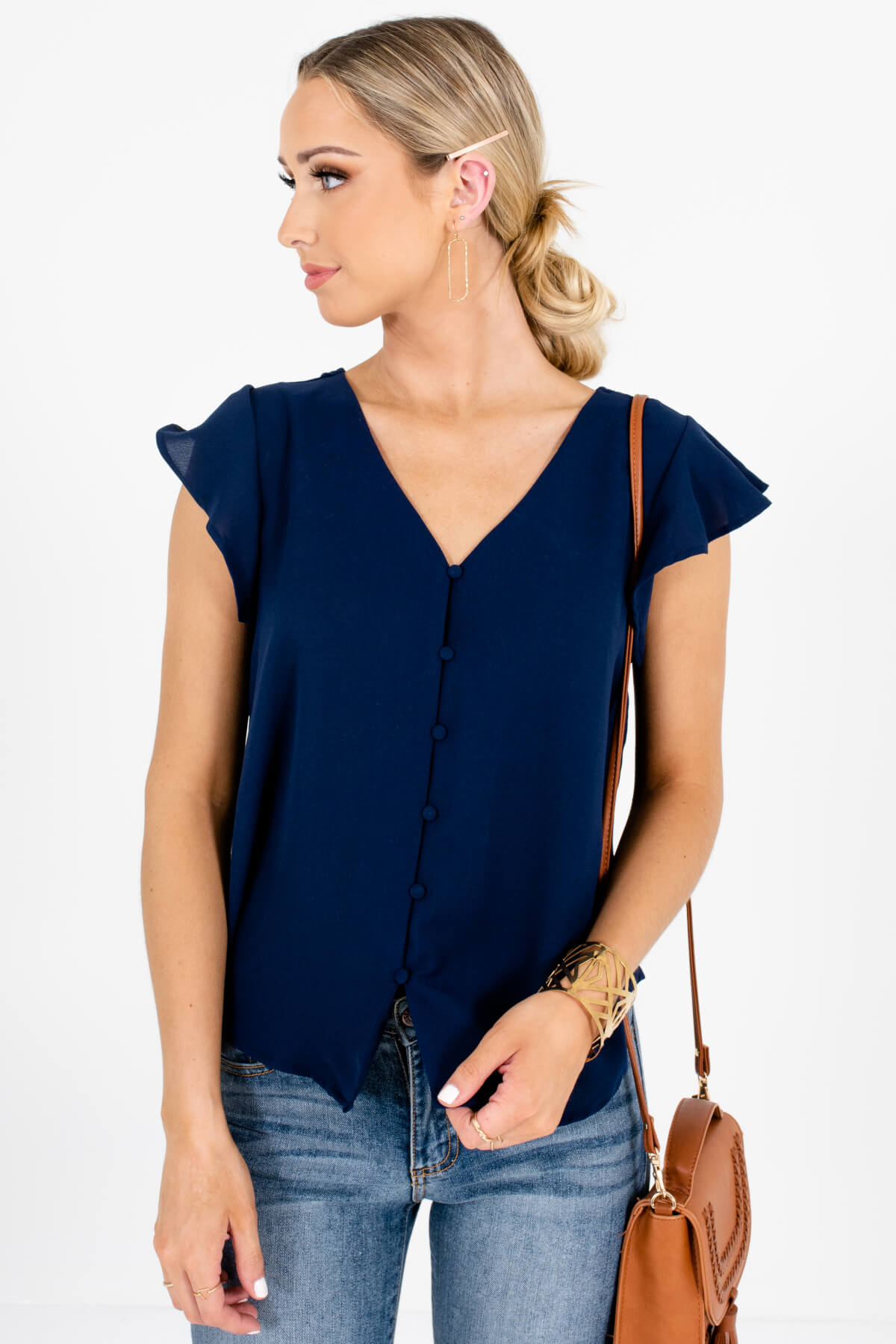 Navy Blue Button-Up Flutter Sleeve Blouses with Floral Tie Detail