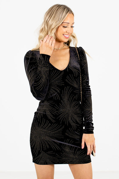 Women's Black Holiday Party Special Occasion Boutique Mini Dress
